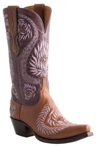 Lucchese Women's Embroidered Laurel Leaves Western Boot, Cognac, 7.5 B US