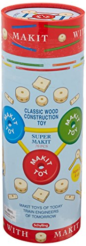 Schylling MKT Super Makit Classic Wood Construction Toy, 70-Pieces ()