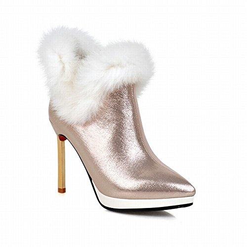 Latasa Donna Elegante Inverno Freddo Punta A Punta Stiletto Tacco Alto Stivali Alti Caviglia Vestito Oro