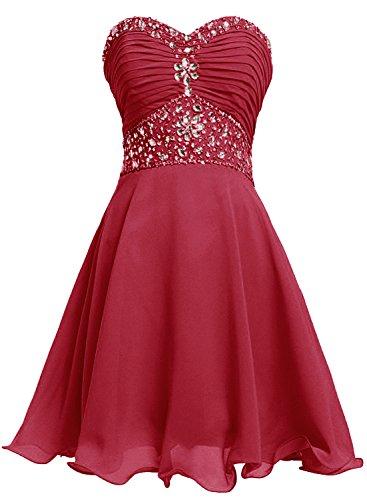 Bbonlinedress Vestido De Mujer Fiesta Noche Boda Corto Escote Corazón De Gasa Rojo Ocscuro