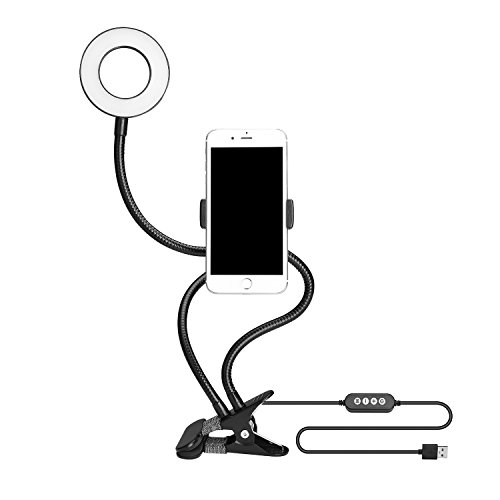 Vlio Selfie Ring Led Light clip Phone Holder Dimmable [3-Light Mode][more than 9-Level Brightness] for Live Stream,Video Long Arm for iPhone 6 7 8 Plus Samsung Galaxy HUAWEI,HTC (Black) by Vlio