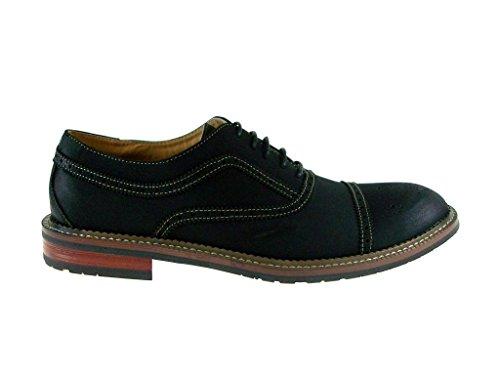 Nieuwe Heren 139005a Cap Teen Patent Oxford Dress Schoenen Mat Zwart