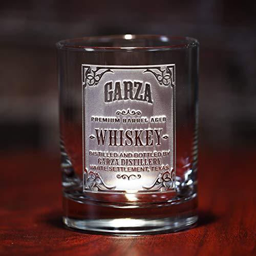 Custom Whiskey Label Glasses, Engraved Bourbon Glasses SET OF 4 (wskylabel) - Bourbon Whiskey Label
