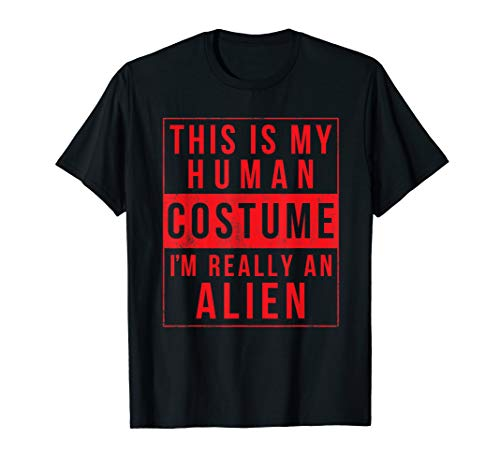 Alien Halloween Costume Shirt Funny UFO Easy Gift Idea ()