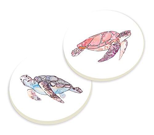 Tortugas Marinas acuarela blanco 3x 3coche de cerámica posavasos paquete de 2