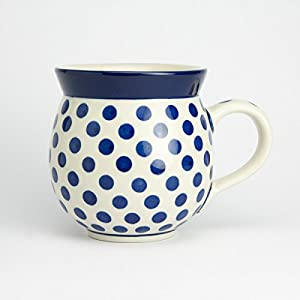 Polish Pottery Gents Mug – Small Blue Dot – 9330ml