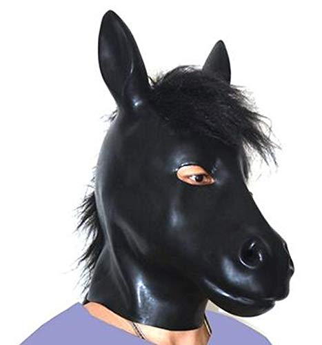 (Extremely Comfortable, Much Better(LS06) Fetish Latex Full Head Latex Pig Dog cat Leopard Wolf Horse Animal Head Slave mask Rubber Hood SM Hood suffocate Mask,Horse with Hair,XXL)