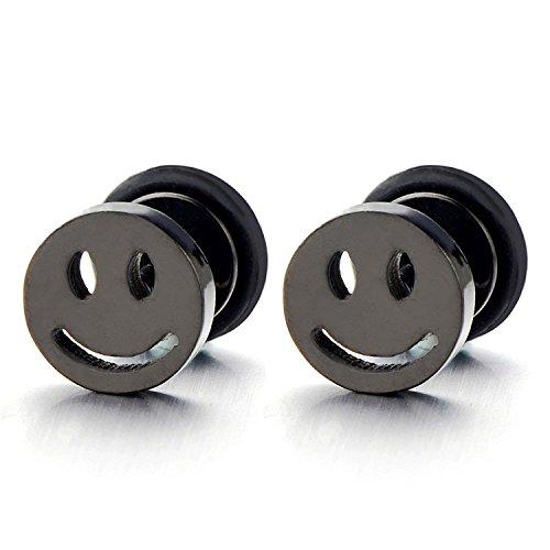 Personalized Black Face - 8MM 2pcs Smiling Face Black Stud Earrings in Steel for Men Women Boys, Screw Back