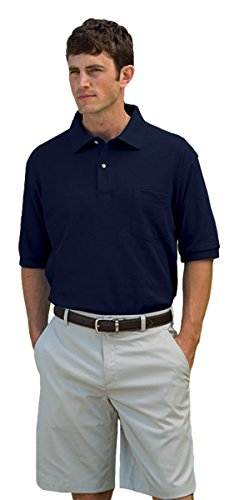 Whispering Pines Sportwear 7002 Mainsail Mesh-Pique Polo Shirt With Pocket, Navy, 3XL
