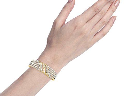 Libertini bracelet argent 925 femme plaque or Jaune serti de