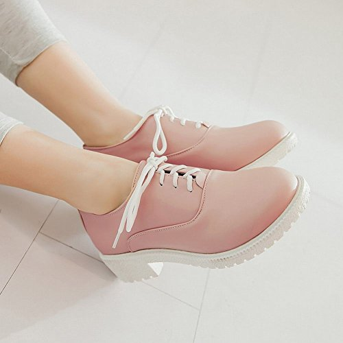 Carolbar Mujeres Lace Up Fashion Sweet Cute Candy Color Zapatos De Tacón Bajo Oxfords Pink
