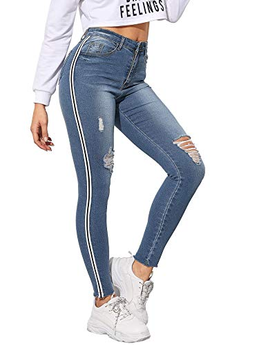 SOLY HUX High Women's Stripe Side Ripped Jeggings Pocket Denim Skinny Stretch Jeans Pants Blue S