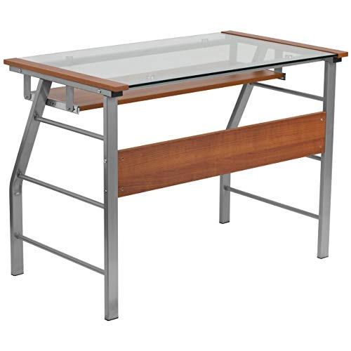 (Flash Furniture Glass Computer Desk with Pull-Out Keyboard Tray )