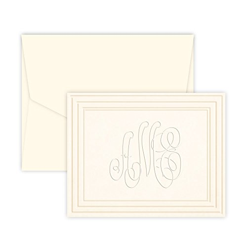 Personalized Embossed Stationary - Personalized Classic Frame Monogram Note - Embossed (Ivory)
