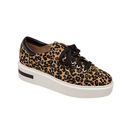 - Linea Paolo Kendra | Perforated Leather Lace-Up Platform Sneakers Sand/Black Leopard Print Hair Calf 6.5M