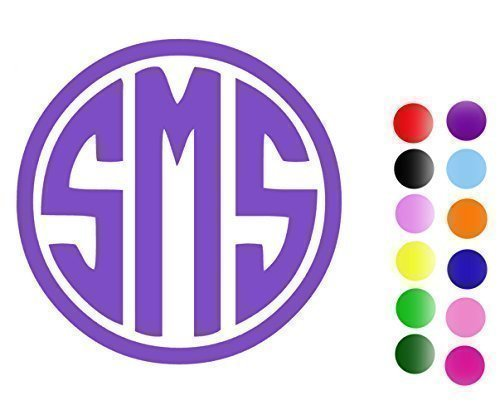 Circle Monogram Vinyl Decal Sticker - Custom Cut with Your I