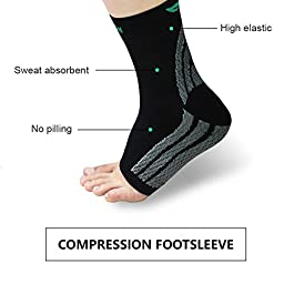HLYOON W01 Plantar Fasciitis Socks Foot Compression Sleeves (1 Pair) with Arch Support,Lightweight Ankle Braces, Eases Swelling to Relieve Pain(M)