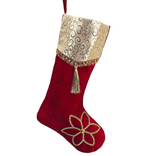 Valery Madelyn Luxury Red Gold 21 Christmas Stockings with Christmas Flower and Jacquard Cuff, Themed with Tree Skirt (Not Included)