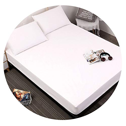 Colorful-cookie-bedandbath Solid Color Fitted Sheet Mattress Cover Bed Linen Mattress Protector Pad King Size Bedding Set,White,220x200x25cm ()