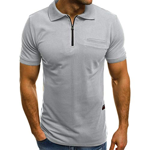 Mikey Store Men's Casual Short Sleeve Solid Polo Tops with Pockets Gray