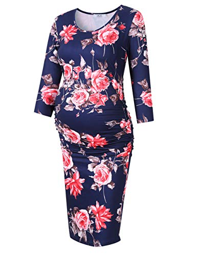 (Coolmee MissQee Ruched Maternity Dress Round Neck Maternity Dress 3/4 Sleeve Maternity Dresses XL Navy#Flower)