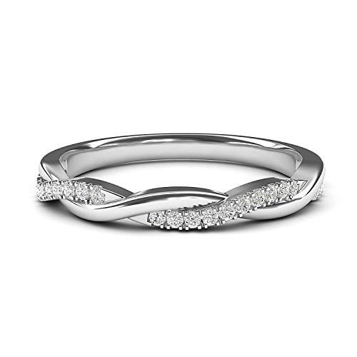 14k White Gold 2.5mm Petite Twisted Vine Simulated Diamond Ring Wedding Band Matching Ring (4.5) ()