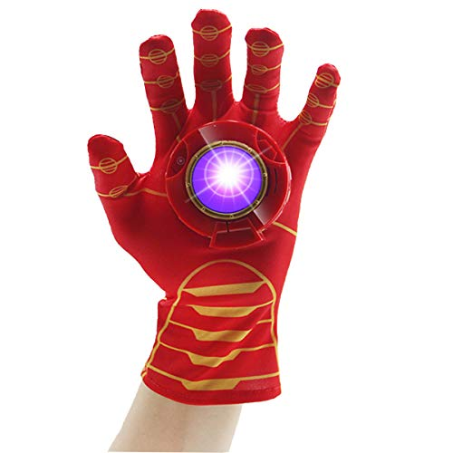 Luminous Voice Iron Man Gloves (Left Hand) for Kids, Elastic and Breathable, with Sound and Light Device, Gravity Sensing