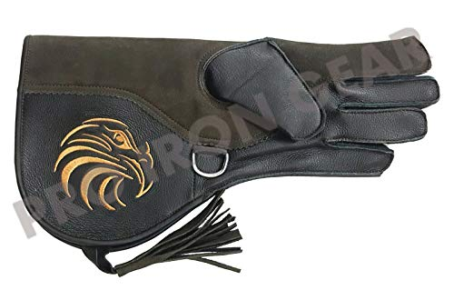 PRO IRON GEAR Falconry Cowhide + Nubuck Leather Gloves with Embroidery Logo (L) 13 INCH