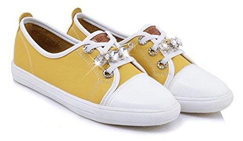 Sneakers Stringate Donna Aisun - Scarpe Piatte A Punta Tonda - Casual Strass Basso In Alto Giallo