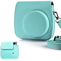 HelloHelio Classic Vintage PU Leather Compact Case with Strap for Fujifilm Instax Mini 9 / 8 / 8+ Instant Film Camera - Mint