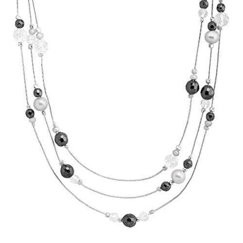 Silpada 'Moeraki' Natural Hematite, Crystal, Fw Cultured Pearl Three-Layer Necklace in Sterling Silver Crystal Fw Cultured Pearl