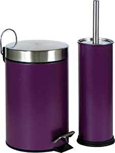 Sanhytec bathroom and toilet accessory set including pedal for Purple bathroom bin