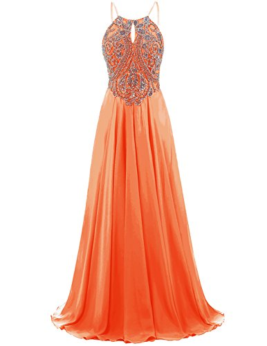 DRESSTELLS Long Prom Dress Halter Chiffon Dress Beaded Evening Party Gown Orange Size14