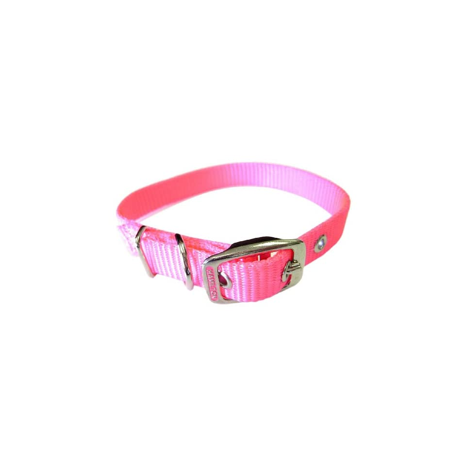 Hamilton 5/8 Inch by 12 Inch Single Thick Nylon Deluxe Dog Collar, Hot Pink