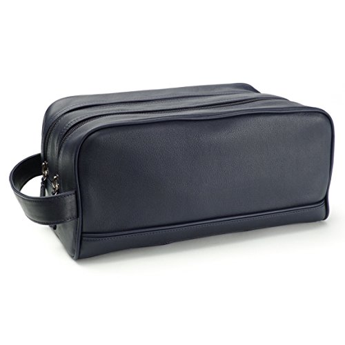 Leatherology Double Zip Toiletry Bag - Full Grain Leather - Navy (blue) by Leatherology