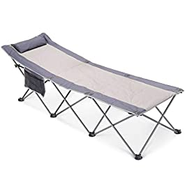 IKURAM Folding Camping Cot with Side Storage Bag, Single Person Camping Bed Foldable Sleeping Bed Cots for Adults with…