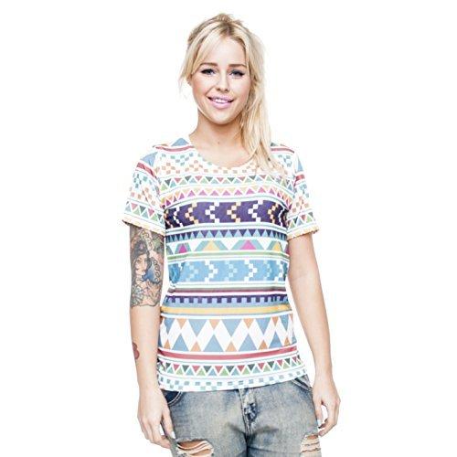 T-Shirt Top Aztec Fullprint Allover Tribal Muster Aufdruck Fashion