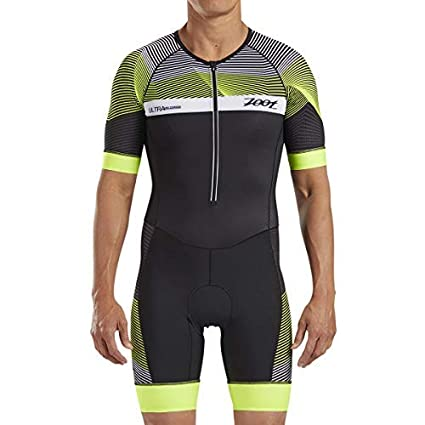 Zoot Mens Ultra Short Sleeve Aero Tri Suit - Performance Triathlon Race Suit Carbon Fabric Two Pockets