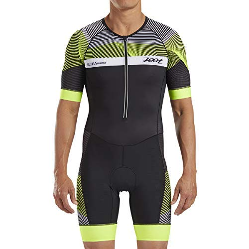 Zoot Men's Ultra Short Sleeve Aero Tri Suit - Performance Triathlon Race Suit with Carbon Fabric and Two Pockets (Large)