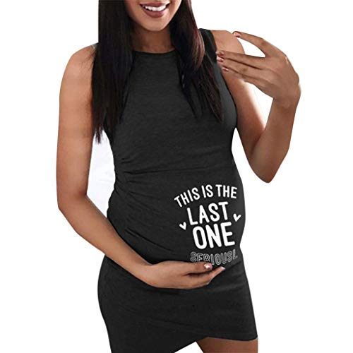 THIS IS THE LAST ONEForthery Women Sleeveless Letter Printed Casual Sundress Pregnancy Maternity Dress(Black,M=US 6) -