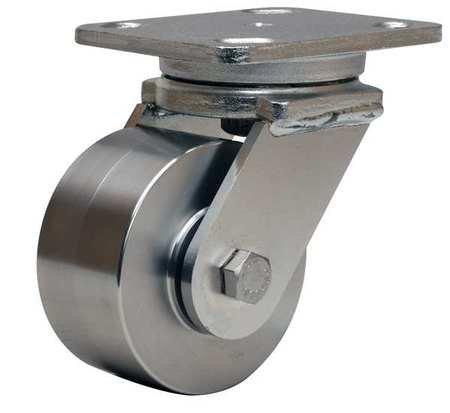 Plate Caster, Swivel, SS, 4 in., 850 lb., Blu by Materro