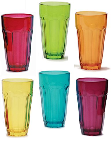 Circleware Heavy Base Colored Juice Drinking Glasses, Kitchen Entertainment Dinnerware Ice Tea Beverage Cups Glassware for Water, Milk, Beer, Whiskey and Bar Decor, Set of 6-12 oz, Overture