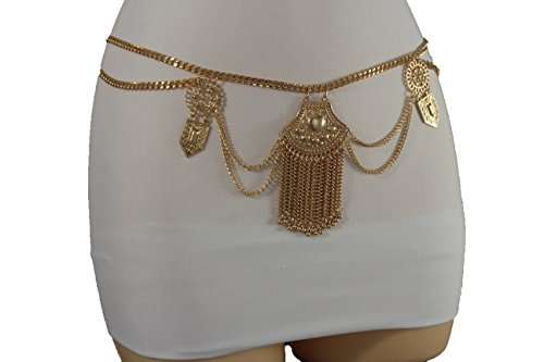 Fringe Hip Belt (TFJ Women Fashion Belt Gold Metal Chain Fringes Hip High Waist Ethnic Charm S M)
