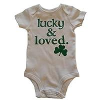 Custom Kingdom Baby Boys/Girls Lucky and Loved Irish Shamrock One-Piece Romper Bodysuit White (6 Months)