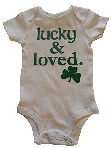Custom Kingdom Baby Boys/Girls Lucky and Loved Irish Shamrock One-piece Romper Bodysuit White (3 Months)