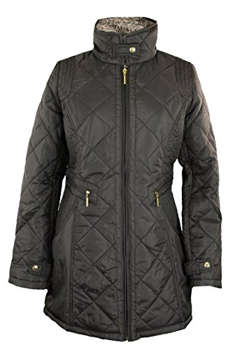 Weatherproof Womens Woven Quilted Full Zip Walker Jacket, Black