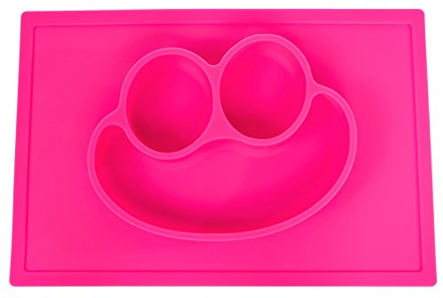 SmilingFace One-Piece Kids Silicone Placemat and Plate - Pink