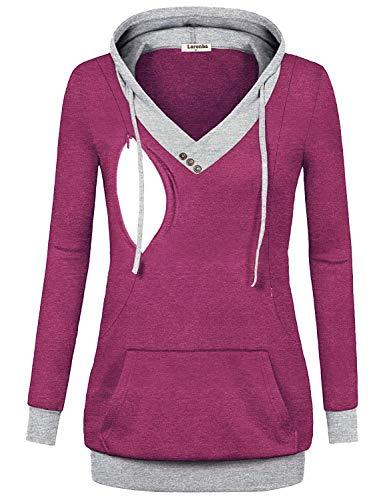 Larenba Breastfeeding Shirts for Women, Juniors Maternity Nursing Top Sweatshirt Long Sleeve Patchwork Zipper Pullover Top with Kangaroo Pocket(Rose ()