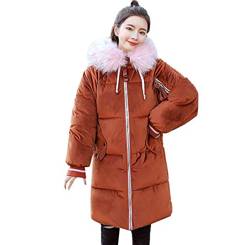 (Long Jacket, Sttech1 Women Ladies Solid Color Long Sleeve Fur Hooded Cotton-Padded Coats Outerwear with Zipper)