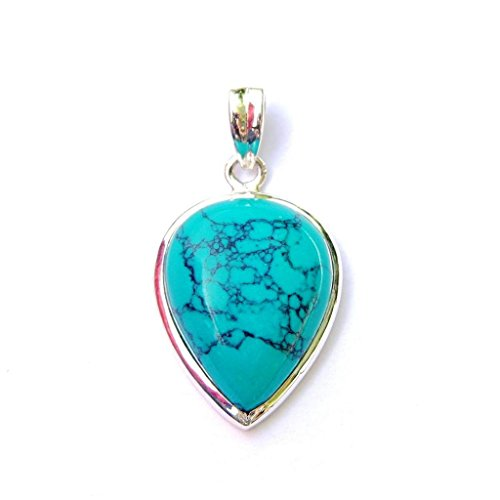 Pendant Stone Inverted (Turquoise Inverted Teardrop Pendant - Natural Stone Gemstone Sterling Silver)